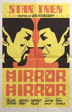 """Star Trek"" original series movie-like poster of episode ""Mirror Mirror"" from the book ""Star Trek: The Art of Juan Ortiz."""