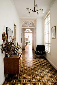 Hallway with beautiful floor tiles