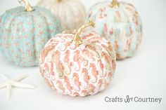 ~ Coastal Decor Crafts With Mod Podge Pumpkins ~ Crafts by Courtney ~