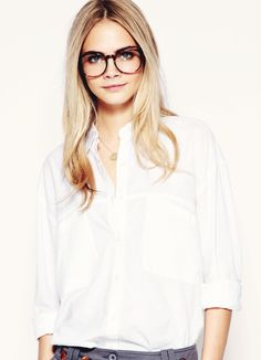 basic white shirt/white button-down + glasses : (androgynous) (effortlessly chic)