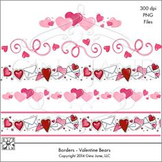 Valentine's Day Borders of Hearts! Pretty red and pink hearts with envelopes!  www.daisiecompany.com