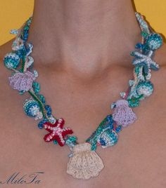 Crocheted Necklace with Shells Sea Stars and Beads by MileTa