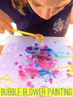 With just two ingredients, this fun bubble blower painting will have your children spellbound!