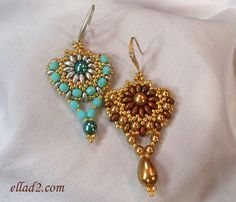 Sunflower Earrings-Beading Tutorials and Patterns by Ellad2--Seed beads size 11 - Pearls 6mm and 4mm (Swarovski pears 11x8mm for one earrings, fire-polished beads 4mm for the second earrings) - Twin seed beads or Super duo - Ear wires