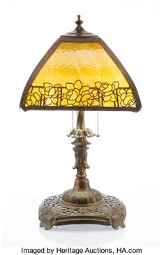 A Handel-Style Four-Panel Glass and Bronze Lamp, early century Marks: 104 x x inches . Antique Lighting, Stained Glass, Auction, Bronze, Lights, Table Lamps, Antiques, Textiles, Design