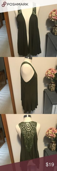 Green crochet back vest Green crochet back vest.  Size L.  Excellent condition!!!  Looks amazing with a cute waist belt !  Inventory #(MK45) Gorgeous Tops
