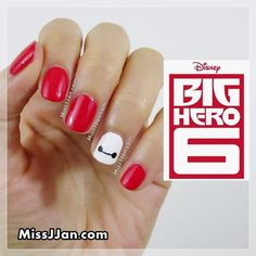 Disney Big Hero 6 Baymax Inspired Nail Art Great ready to book your next manicure, because this nail New Nail Art, Cute Nail Art, Easy Nail Art, Nail Art Designs, Disney Nail Designs, Nails Design, Nail Art Disney, Simple Disney Nails, Disney Manicure