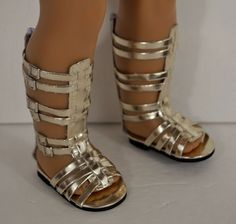 """Fits 18"""" American Girl Doll Gold Gladiator Sandals, Shoes, Clothes Accessories"""