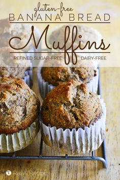 Whether you're a banana bread lover these gluten, dairy, and refined sugar-free Banana Bread Muffins are sure to be a favorite! Gluten Free Recipes For Breakfast, Best Gluten Free Recipes, Gluten Free Muffins, Gluten Free Treats, Gluten Free Breakfasts, Gluten Free Baking, Gluten Free Desserts, Real Food Recipes, Dessert Recipes