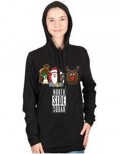 Christmas: North Side Squad T-shirt Hoodie (Toodie). Shop Santa's Squad Christmas designs at www.firetrend.co.uk #toodie #hoodie #xmas Mens Christmas T Shirts, Christmas Jumpers, Jumper Designs, Shops, Side, College Fashion, Hoodies, Sweatshirts, Neck T Shirt