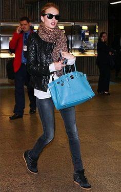 Rose Huntington-Whiteley Wearing Isabel Marant Wedge Sneakers