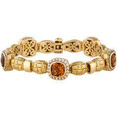 Pre-owned 18K Citrine and Diamond Bracelet (4,480 CAD) ❤ liked on Polyvore featuring jewelry, bracelets, diamond jewellery, 18k bangle, 18 karat gold jewelry, diamond jewelry and 18k jewelry