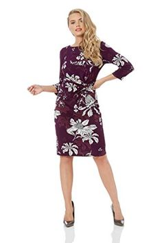 Roman Originals Women Floral Twist Waist Dress - Ladies V... Jersey Dresses 47a8de402