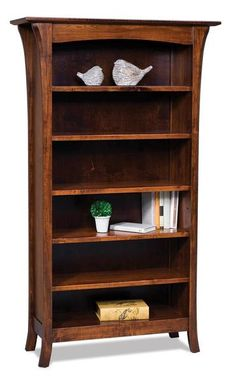 Amish Ensenada Bookcase Store books on the lovely Ensenada that's crafted in your choice of wood and stain. This wood bookcase will last for decades. Built in an Amish woodshop  in choice of wood and stain. #woodbookcase #officefurniture