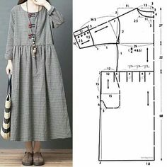 Maxi Dress Sewing PDF Pattern - Womens Maxi Dress Pattern - Maxi Dress patterns for Women Dress Sewing Patterns, Clothing Patterns, Drape Dress Pattern, Pattern Sewing, Embroidery Patterns, Hand Embroidery, Casual Cotton Dress, Diy Clothes, Clothes For Women