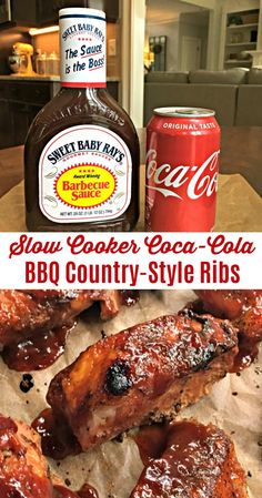 Slow Cooker Coca-Cola BBQ Country-Style Ribs (Coke Ribs) - - Slow Cooker Coca-Cola BBQ Country-Style Ribs (Coke Ribs) Recipes to try this week Slow Cooker Coca-Cola BBQ Rippchen im Landhausstil (Cola Ribs) – Sweet Little Bluebird Slow Cooker Ribs Recipe, Crock Pot Slow Cooker, Ribs Recipe Oven, Slow Cooker Bbq Ribs, Slow Cooker Meatloaf, Ribs Crock Pot, Sloe Cooker Recipes, Slow Cooker Dinners, Slow Cooker Recipes Family