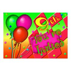 Find customizable invitations & announcements of all sizes. Pick your favorite invitation design from our amazing selection. 9th Birthday Parties, Birthday Party Invitations, Invitation Design, Announcement, Balloons, Birthdays, Anniversaries, Globes, Balloon