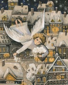 Pinzellades al món: Neva / Nieva / Snowing Art And Illustration, Christmas Illustration, Illustrations And Posters, Art Images, Art Pictures, Photos, Christmas Angels, Christmas Art, Adorable Petite Fille