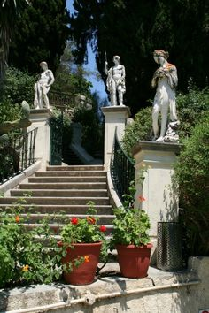 Entry w Apollo, Hermes and Artemis watching you as you climb the steps at the Achilleion Palace, Corfu, Greece
