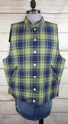 8817312dd49 Details about Susan Bristol womens 1W 1x 2x Tartan Plaid Quilted Vest Blue  Yellow 90 s Vintage