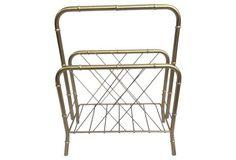 Midcentury   Bamboo-Style  Magazine Rack