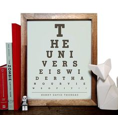 Henry D Thoreau, The Universe Is Wider Than Our Views Of It, Eye Chart, 8 x 10 Giclee Art Print, Buy 3 Get 1 Free