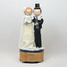 Custom Hand Painted Wooden Peg Wedding Cake Toppers