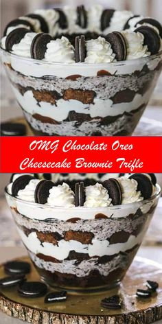Your family's favorite food and drink ! OMG Chocolate Oreo Cheesecake Brownie Trifle This stunning trifle is jam-packed with everybody's f. Fudge Brownies, Brownie Cookies, Cheesecake Brownies, Oreo Brownie Trifle, Cheesecake Trifle, Trifle Desserts, Dessert Recipes, Brownie Recipes, Cheesecake Recipes