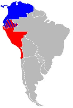 Map of Gran Colombia and the Republic of Peru in 1828.  Peru is in red, Gran Colombia is in blue,  and disputed territory is striped