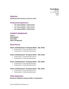 This resume template balances the need to showcase both academic and professional experience. Header text is purple, and can be customized. Free to download and print