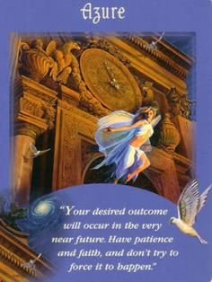 Today's card was drawn from the Messages from Your Angels Oracle cards by Doreen Virtue. Today's Card is Azure. Yes, you will receive your wish. However, Divine Timing means that patience an. Doreen Virtue, New Flame, Angel Readings, Free Angel, Divine Timing, Angel Guidance, Angel Cards, Guardian Angels, Messages