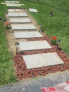 Backyard Walkway Ideas gray concrete paver step walkway in backyard Diy Sidewalk Idea