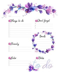 To Do Printable Planner witn Watercolor Crocuses To Do Planner, Daily Planner Pages, Weekly Planner Printable, Study Planner, Planner Template, Happy Planner, Checklist Template, Planner Tips, Planner Layout