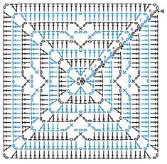 Crochet Motif Patterns, Granny Square Crochet Pattern, Crochet Diagram, Crochet Chart, Crochet Basics, Crochet Squares, Crochet Designs, Free Crochet, Crochet Quilt
