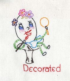 adorable vintage embroidery pattern - decorated egg ( happy easter)