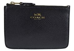 Women's Wallets - Coach Crossgrain Leather Coin Case w Key Chain 64064 Black -- Read more at the image link.