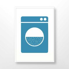 Laundry poster, laundry sign, laundry printable, home decoration, blue white, washing machine sign, 1018 by GreenVector on Etsy