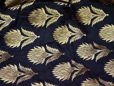 Black Brocade fabric by the Yard Indian Fabric Wedding Dress Banarasi Fabric Crafting Banaras fabric Bridal lehenga Material Silk Fabric - Fabric Crafts Kora Silk Sarees, Silk Lehenga, Bridal Lehenga, Silk Dupatta, Cotton Silk, Printed Cotton, Wedding Fabric, Wedding Dress, Brocade Dresses