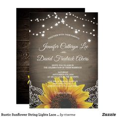 Rustic Sunflower String Lights Lace Barn Wood Country Pretty Personalized Wedding Invite Announcement Invitation Card #rustic #sunflower #invitation