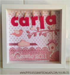 scrapbooking idea for a frame ♥ for baptism Diy Souvenirs, Felt Wreath, Decoupage, Arts And Crafts, Diy Crafts, Baby Scrapbook, Box Frames, Kids Decor, Scrapbooking Layouts