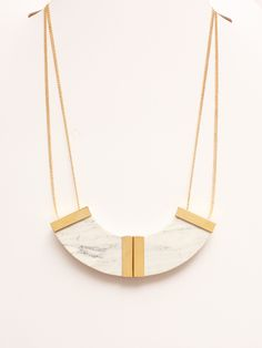 Marion Vidal white marble plastron necklace