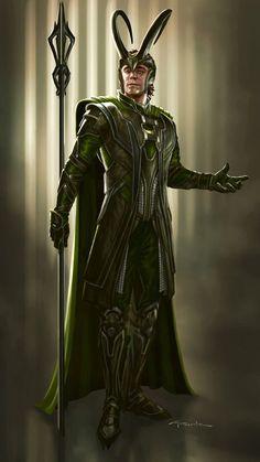 Loki (The Avengers) Concept Art by Andy Park Loki Thor, Tom Hiddleston Loki, Loki Laufeyson, Marvel Dc Comics, Marvel Heroes, Marvel Characters, Marvel Avengers, Marvel Films, Marvel Villains
