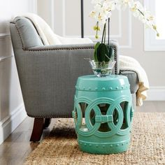 Abbyson Living Osla Antique Blue Ceramic Garden Stool (160 AUD) ❤ Liked On  Polyvore Featuring Home, Outdoors, Patio Furniture, Outdoor Stools, Blueu2026