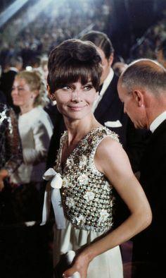 "rareaudreyhepburn: "" Audrey Hepburn at the 40th Annual Academy Awards on April 10, 1968 at the Santa Monica Civic Auditorium in Santa Monica, California. """
