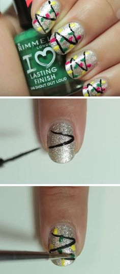 Silver & Christmas Lights | Click Pic for 20 Easy Christmas Nails Art Designs Winter | Easy Nails Designs for Short Nails
