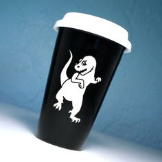 T-Rex Travel Coffee Mug - insulated BLACK ceramic to go cup by BreadandBadger on Etsy https://www.etsy.com/listing/107252562/t-rex-travel-coffee-mug-insulated-black