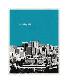 Birmingham Alabama AL - 8x10 World Traveler Series Pop Art Print City Skyline - Available in 40 Colors - UAL025. $20.00, via Etsy.