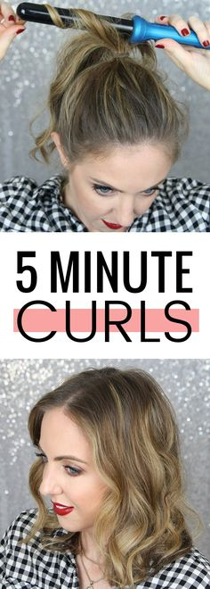 5 minute curls! How to curl your hair in 5 minutes or less. Click through for the tutorial!