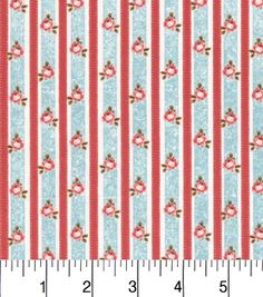 Buttercream™ Cosette Cotton Fabric 43\u0022-Floral Stripe Blue Red,