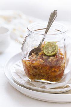 SAMBAL BAWANG - Garlic Sambal (Indonesian sambal bawang putih) made from red chilli and garlic